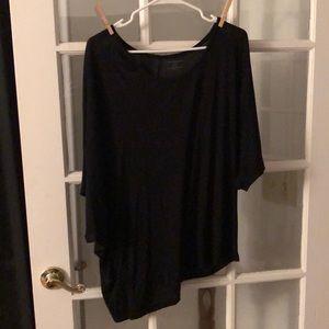 Black Asymmetrical bottom dolman sleeve top